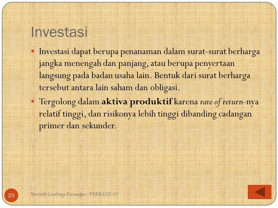 Aktiva Tetap & Inventaris Statistik Lembaga Keuangan - PERBANKAN 24  Tergolong sebagai aktiva yang tidak produktif dalam menghasilkan penerimaan, tidak likuid, dan cukup berisiko (terhadap kemungkinan rusak, terbakar, atau hilang).