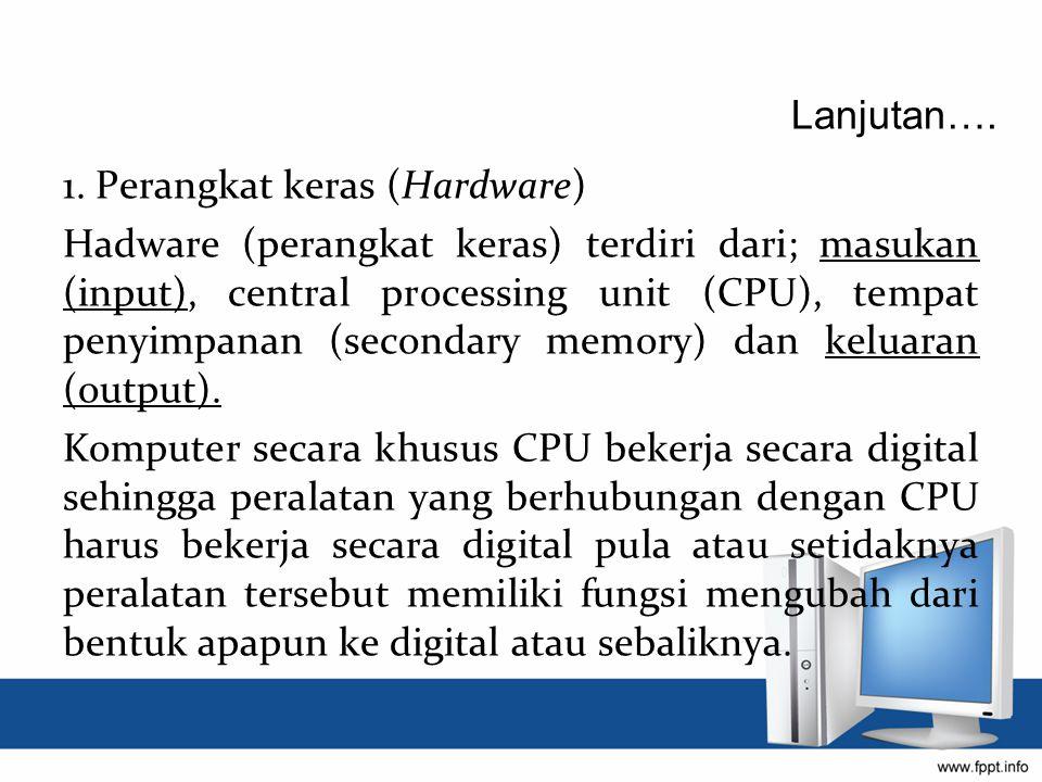 1. Perangkat keras (Hardware) Hadware (perangkat keras) terdiri dari; masukan (input), central processing unit (CPU), tempat penyimpanan (secondary me