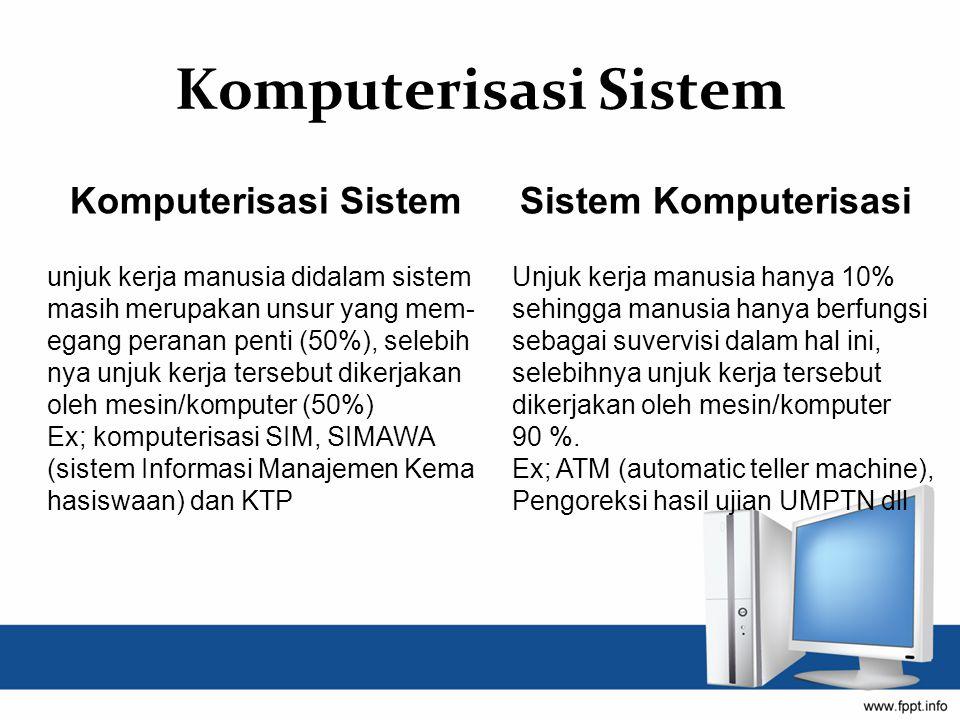 Komputerisasi Sistem Sistem Komputerisasi unjuk kerja manusia didalam sistem masih merupakan unsur yang mem- egang peranan penti (50%), selebih nya unjuk kerja tersebut dikerjakan oleh mesin/komputer (50%) Ex; komputerisasi SIM, SIMAWA (sistem Informasi Manajemen Kema hasiswaan) dan KTP Unjuk kerja manusia hanya 10% sehingga manusia hanya berfungsi sebagai suvervisi dalam hal ini, selebihnya unjuk kerja tersebut dikerjakan oleh mesin/komputer 90 %.