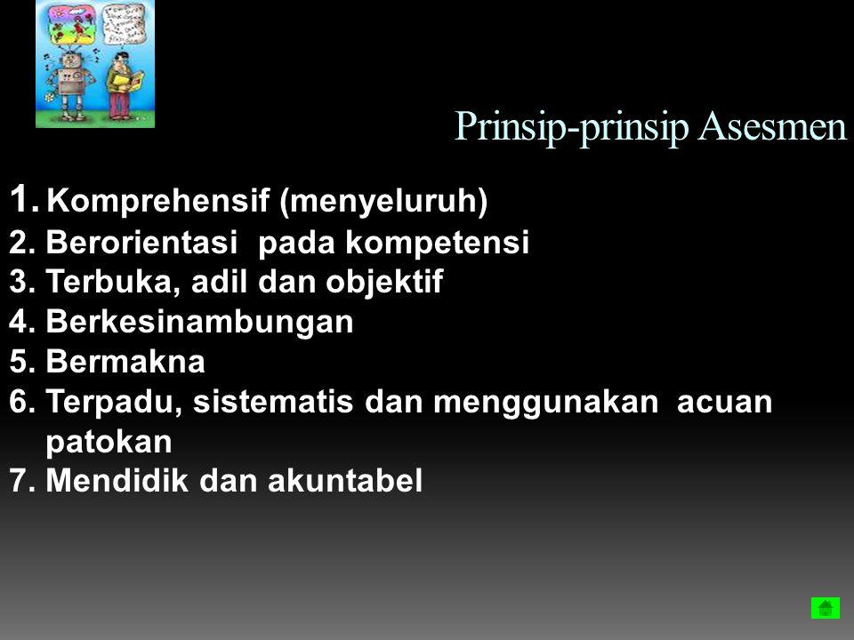 Prinsip-prinsip Asesmen 1. Komprehensif (menyeluruh) 2. Berorientasi pada kompetensi 3. Terbuka, adil dan objektif 4. Berkesinambungan 5. Bermakna 6.