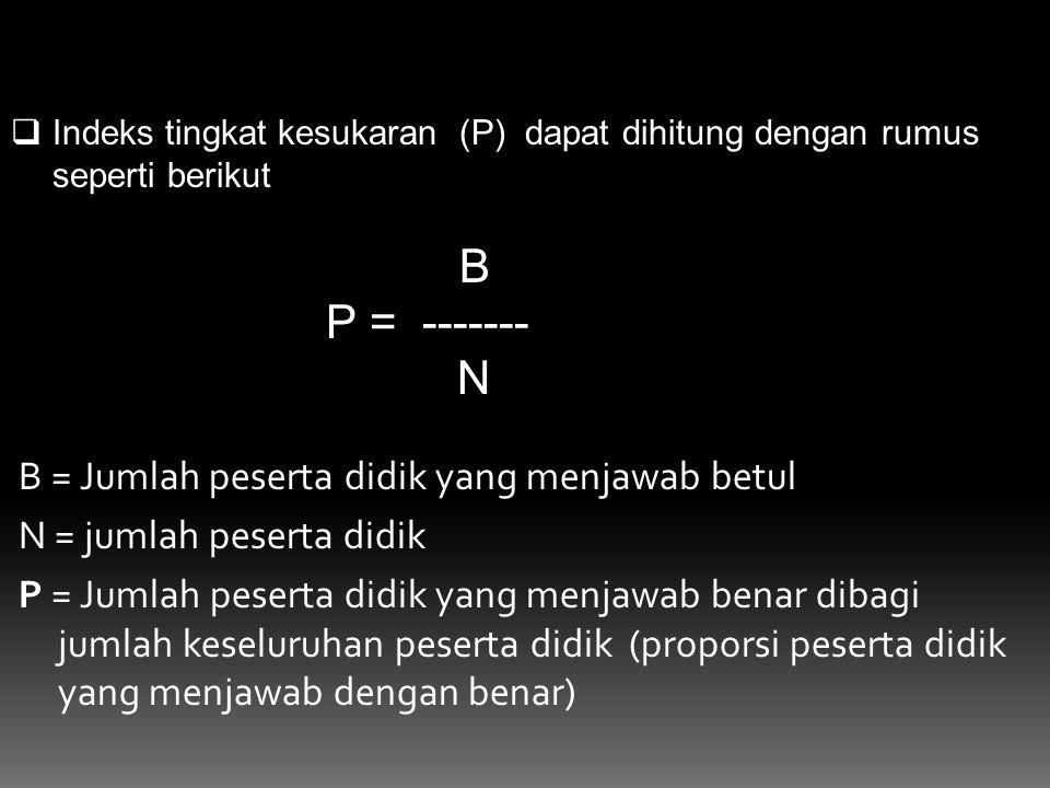 B = Jumlah peserta didik yang menjawab betul N = jumlah peserta didik P = Jumlah peserta didik yang menjawab benar dibagi jumlah keseluruhan peserta d