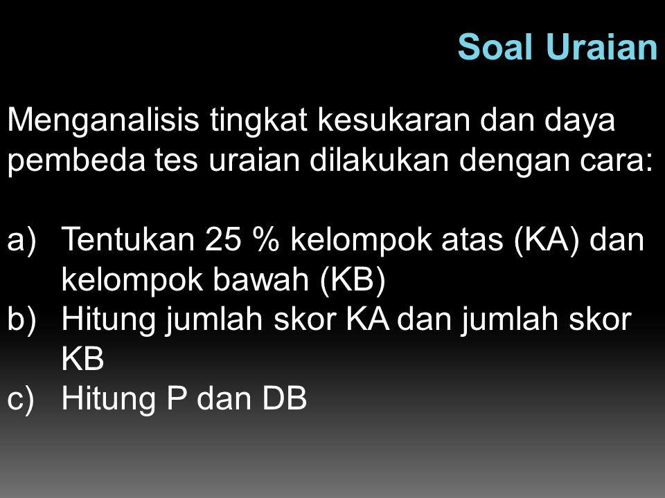Soal Uraian Menganalisis tingkat kesukaran dan daya pembeda tes uraian dilakukan dengan cara: a)Tentukan 25 % kelompok atas (KA) dan kelompok bawah (K