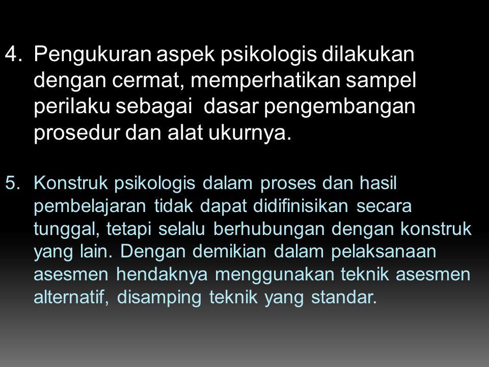 4.Pengukuran aspek psikologis dilakukan dengan cermat, memperhatikan sampel perilaku sebagai dasar pengembangan prosedur dan alat ukurnya. 5.Konstruk