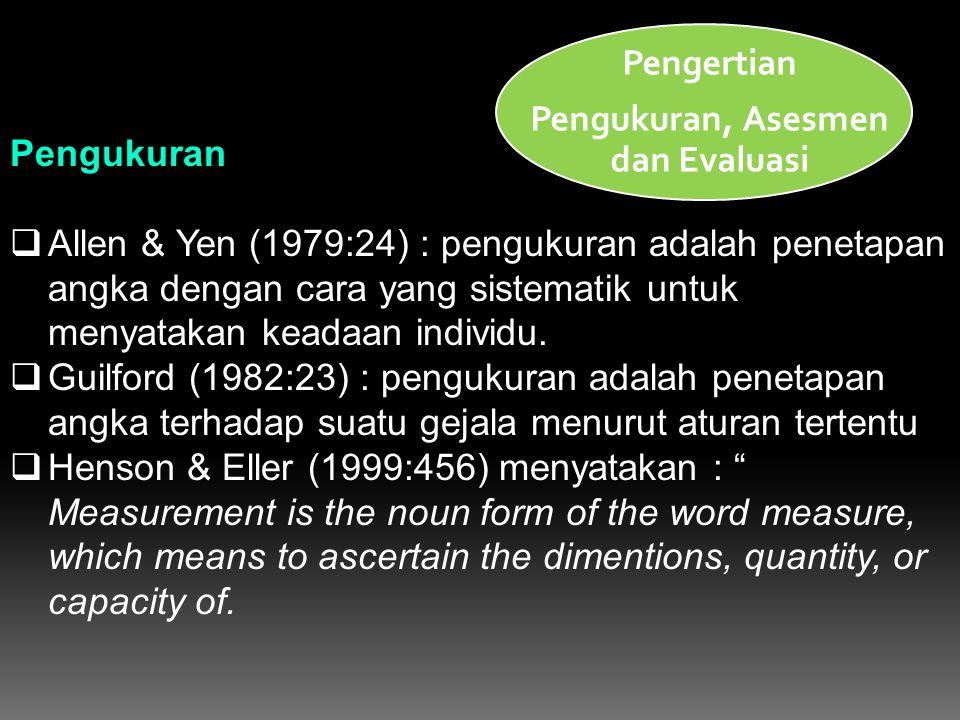 Pengukuran  Allen & Yen (1979:24) : pengukuran adalah penetapan angka dengan cara yang sistematik untuk menyatakan keadaan individu.  Guilford (1982