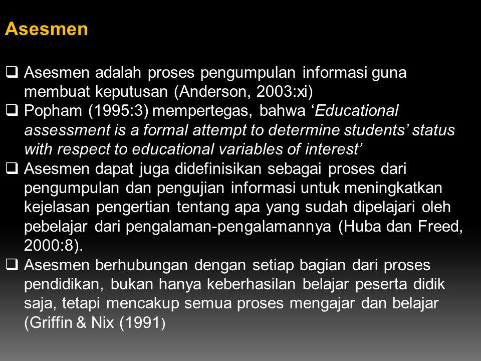 Asesmen  Asesmen adalah proses pengumpulan informasi guna membuat keputusan (Anderson, 2003:xi)  Popham (1995:3) mempertegas, bahwa 'Educational ass