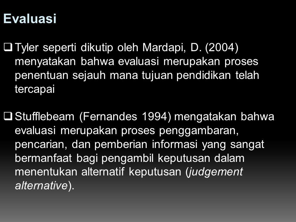 Evaluasi  Tyler seperti dikutip oleh Mardapi, D. (2004) menyatakan bahwa evaluasi merupakan proses penentuan sejauh mana tujuan pendidikan telah terc