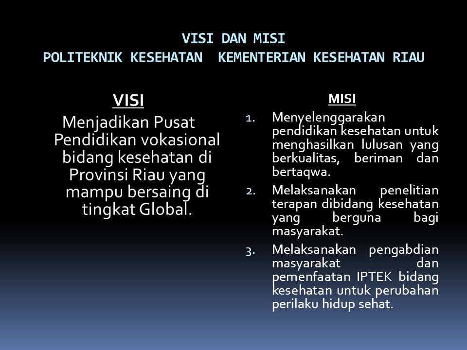 VISI DAN MISI POLITEKNIK KESEHATAN KEMENTERIAN KESEHATAN RIAU VISI Menjadikan Pusat Pendidikan vokasional bidang kesehatan di Provinsi Riau yang mampu bersaing di tingkat Global.