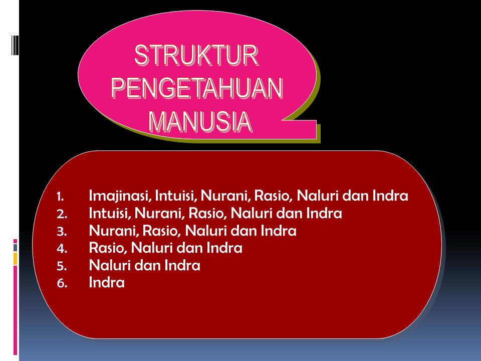1.Imajinasi, Intuisi, Nurani, Rasio, Naluri dan Indra 2.