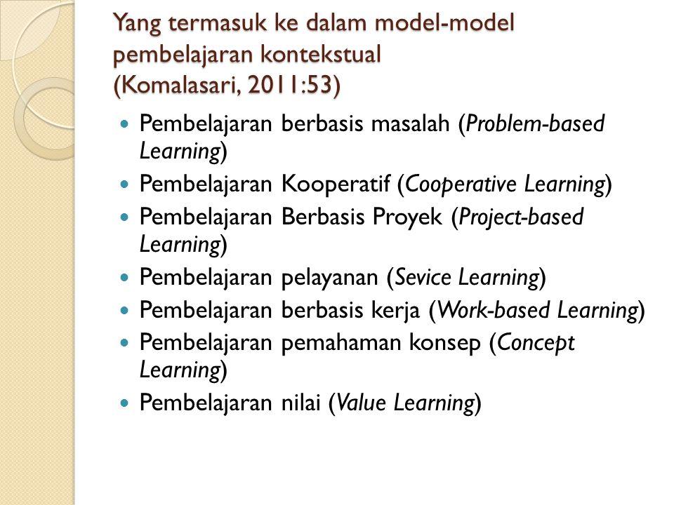 Yang termasuk ke dalam model-model pembelajaran kontekstual (Komalasari, 2011:53) Pembelajaran berbasis masalah (Problem-based Learning) Pembelajaran