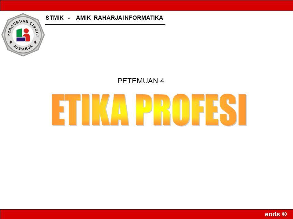 ends ® Standar Profesi TI Baru Standar Kompetensi Kerja Nasional Indonesia (SKKNI) Lembaga dari pemerintah, yaitu Departemen Komunikasi dan Informasi,Kementrian Ristek/BPPT, Direktorat Pendidikan Menengah Kejuruan-Depdiknas, dan Depnakertrans Dari institusi pendidikan, yakni Institut Teknologi Bandung (ITB) dan Pusat Pengembangan Penataran Guru Teknologi Bandung