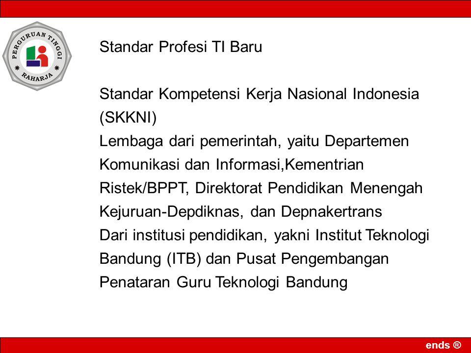 ends ® Standar Profesi TI Baru Standar Kompetensi Kerja Nasional Indonesia (SKKNI) Lembaga dari pemerintah, yaitu Departemen Komunikasi dan Informasi,