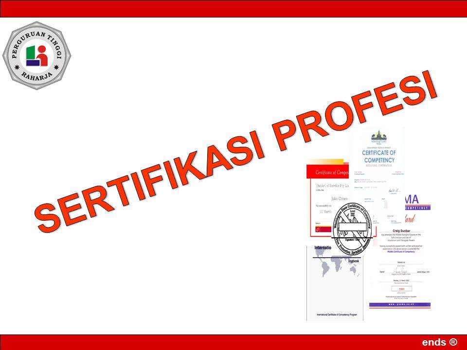Jenis-jenisSertifikasi (Bidang TI) Standar dan sertifikasi dapat dilakukan oleh badan yang resmi dari pemerintah atau dapat juga mengikuti standar sertifikasi diindustri, yang sering juga disebut vendor certification Sertifikasi yang dikeluarkan oleh para vendor biasanya dikelompokkan kedalam beberapa spesialisasi, beberapa contoh yang cukup terkenal saat ini antara lain : Cisco : Cisco Certified Network Associate (CCNA), Cisco Certified Network Professional (CCNP), Cisco Certified Designing Associate (CCDA), Cisco Certfied Designing Professional (CCDP), dan Cisco Security Specialist 1 (CSS 1)