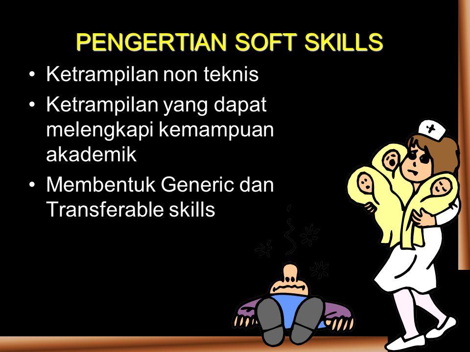 PENGERTIAN SOFT SKILLS Ketrampilan non teknis Ketrampilan yang dapat melengkapi kemampuan akademik Membentuk Generic dan Transferable skills