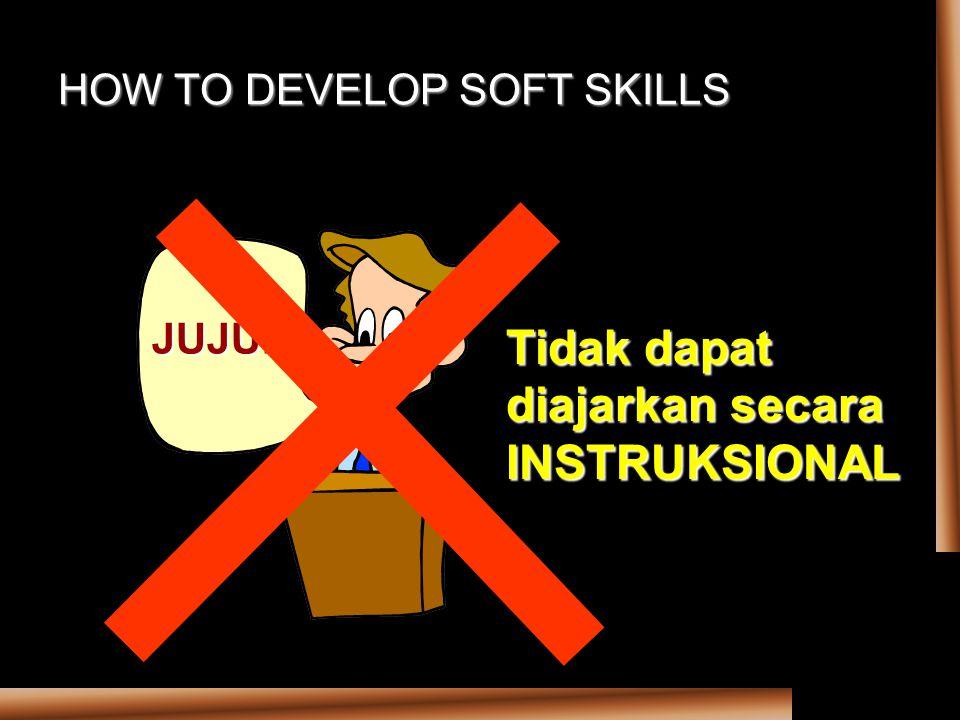 HOW TO DEVELOP SOFT SKILLS JUJUR Tidak dapat diajarkan secara INSTRUKSIONAL