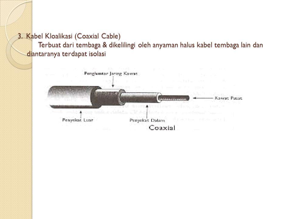 2. Kabel Pasangan terpilih terbuat dari kawat tembaga yang diberi isolasi, shg sering beberapa pasang kabel dijadikan 1 tanpa saling menggangu. keuntu