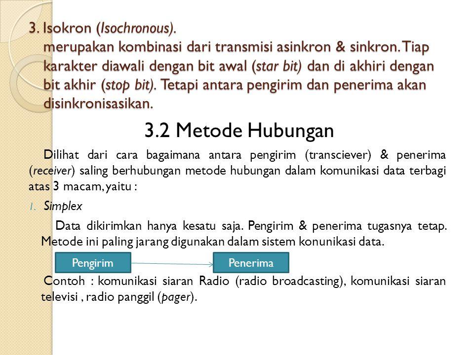 3.Isokron (Isochronous). merupakan kombinasi dari transmisi asinkron & sinkron.