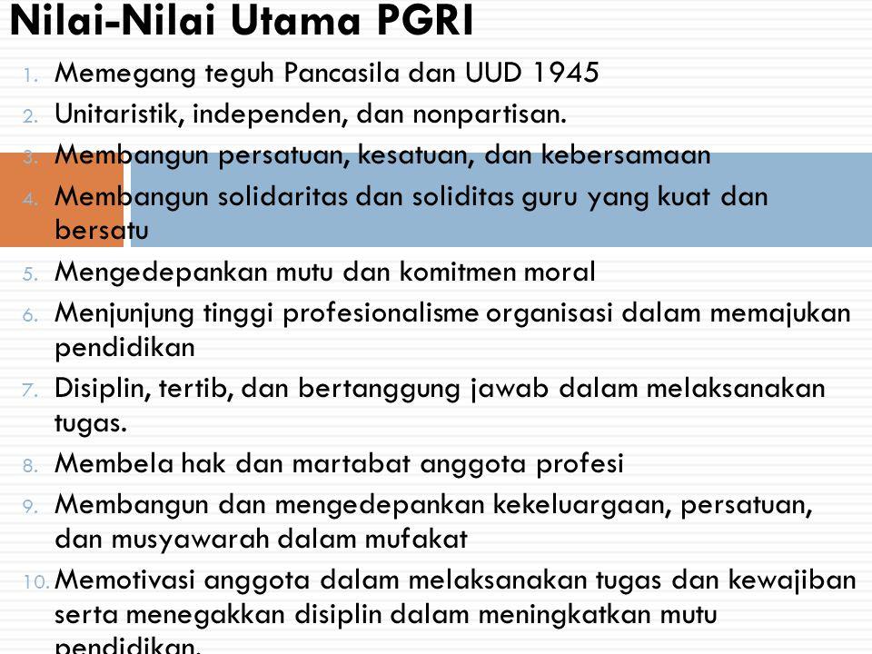 1. Memegang teguh Pancasila dan UUD 1945 2. Unitaristik, independen, dan nonpartisan. 3. Membangun persatuan, kesatuan, dan kebersamaan 4. Membangun s
