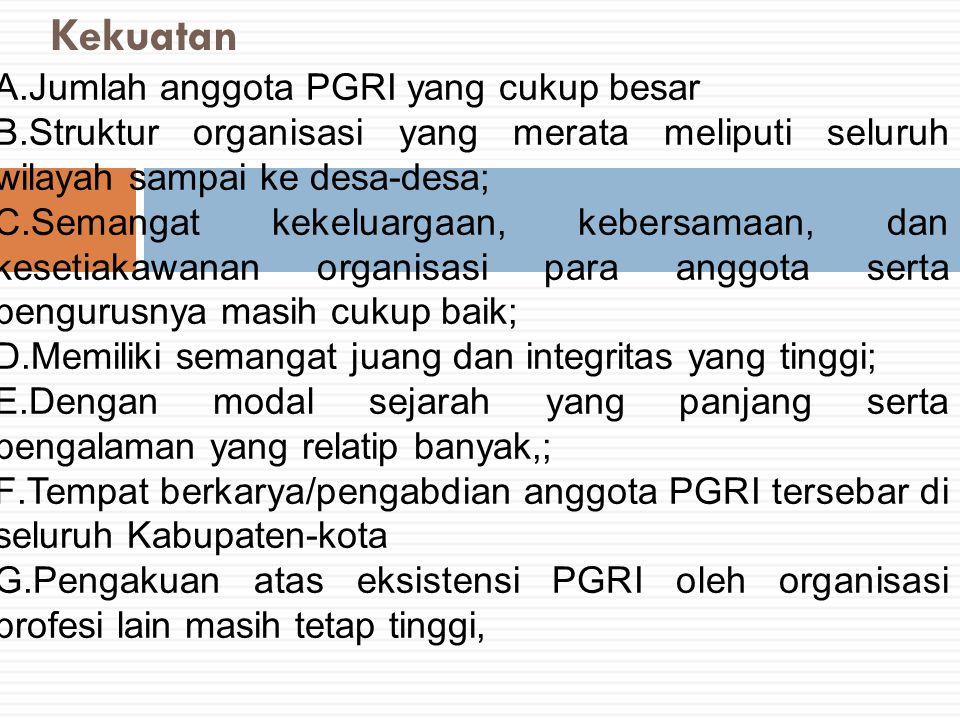 Kekuatan A.Jumlah anggota PGRI yang cukup besar B.Struktur organisasi yang merata meliputi seluruh wilayah sampai ke desa ‑ desa; C.Semangat kekeluarg