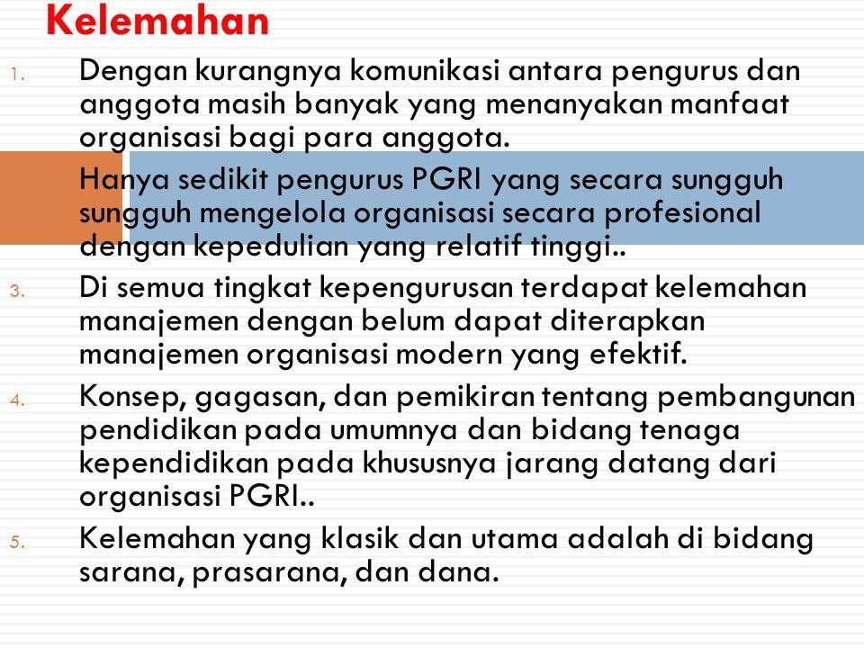 1. Dengan kurangnya komunikasi antara pengurus dan anggota masih banyak yang menanyakan manfaat organisasi bagi para anggota. 2. Hanya sedikit penguru