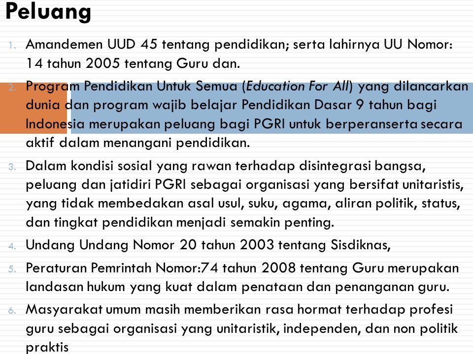 1. Amandemen UUD 45 tentang pendidikan; serta lahirnya UU Nomor: 14 tahun 2005 tentang Guru dan. 2. Program Pendidikan Untuk Semua (Education For All)