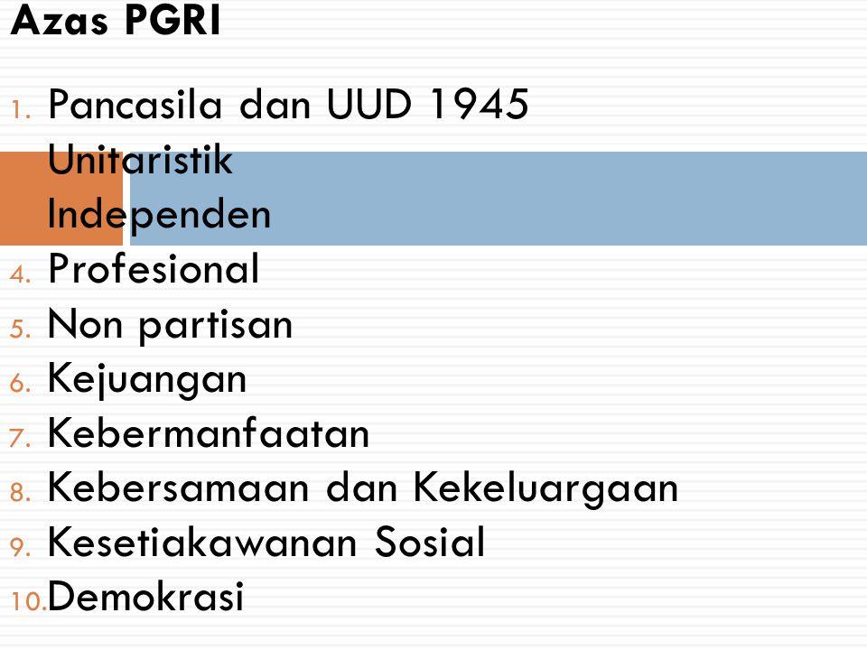 1. Pancasila dan UUD 1945 2. Unitaristik 3. Independen 4. Profesional 5. Non partisan 6. Kejuangan 7. Kebermanfaatan 8. Kebersamaan dan Kekeluargaan 9