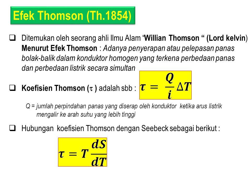 """Efek Thomson (Th.1854)  Ditemukan oleh seorang ahli Ilmu Alam """" Willian Thomson """" (Lord kelvin ) Menurut Efek Thomson : Adanya penyerapan atau pelepa"""