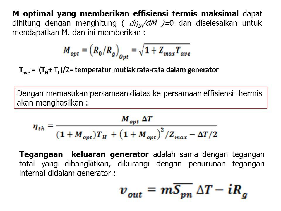 M optimal yang memberikan effisiensi termis maksimal dapat dihitung dengan menghitung ( dη th /dM )=0 dan diselesaikan untuk mendapatkan M. dan ini me