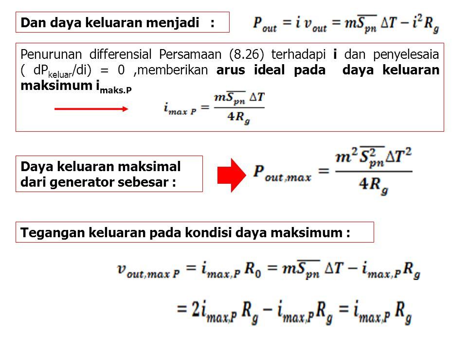 Dan daya keluaran menjadi : Penurunan differensial Persamaan (8.26) terhadapi i dan penyelesaia ( dP keluar /di) = 0,memberikan arus ideal pada daya k
