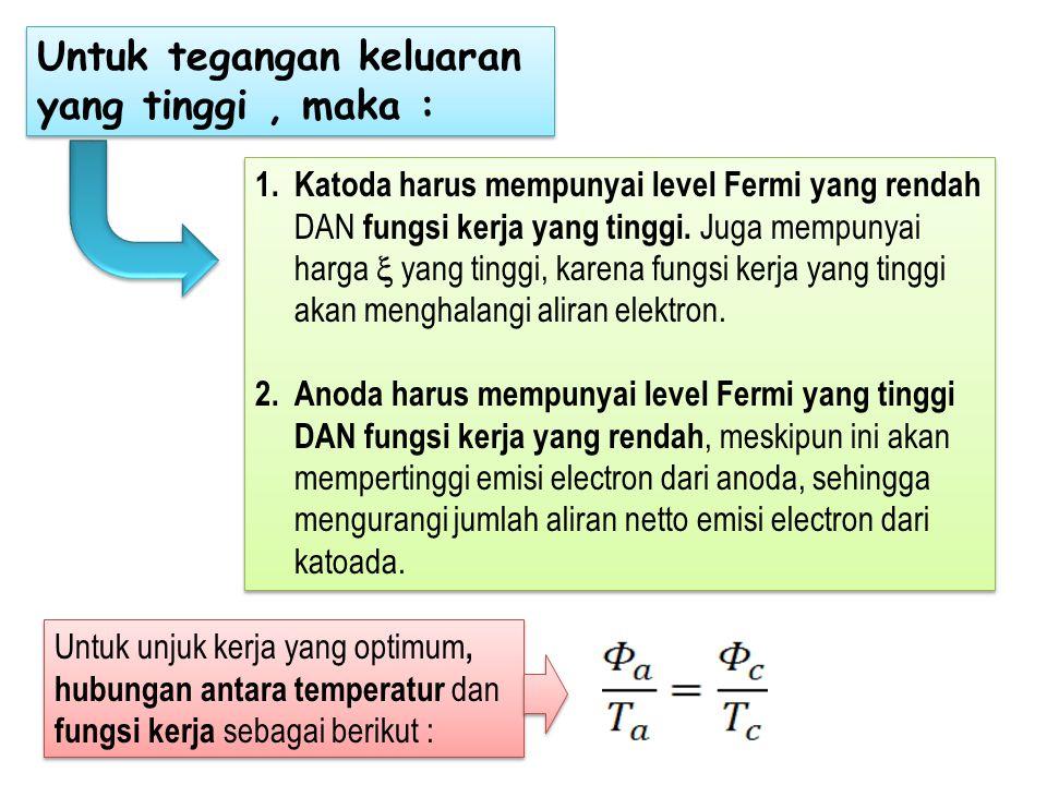 1.Katoda harus mempunyai level Fermi yang rendah DAN fungsi kerja yang tinggi. Juga mempunyai harga  yang tinggi, karena fungsi kerja yang tinggi aka