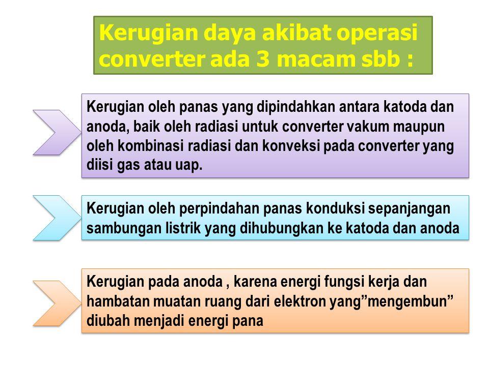 Kerugian daya akibat operasi converter ada 3 macam sbb : Kerugian oleh panas yang dipindahkan antara katoda dan anoda, baik oleh radiasi untuk convert
