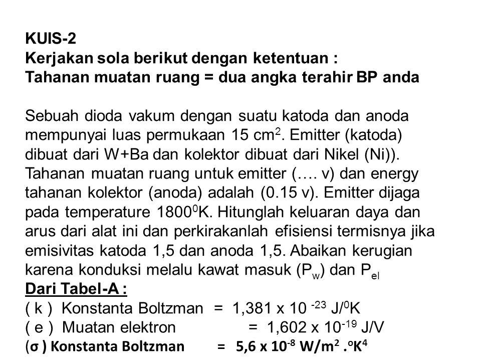 KUIS-2 Kerjakan sola berikut dengan ketentuan : Tahanan muatan ruang = dua angka terahir BP anda Sebuah dioda vakum dengan suatu katoda dan anoda memp
