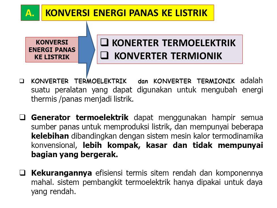 KONVERSI ENERGI PANAS KE LISTRIKA.  KONVERTER TERMOELEKTRIK dan KONVERTER TERMIONIK adalah suatu peralatan yang dapat digunakan untuk mengubah energi