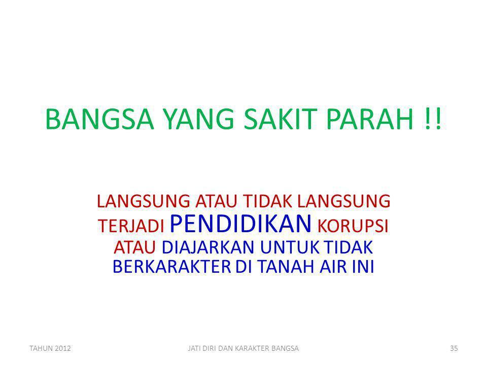 BANGSA YANG SAKIT PARAH !! LANGSUNG ATAU TIDAK LANGSUNG TERJADI PENDIDIKAN KORUPSI ATAU DIAJARKAN UNTUK TIDAK BERKARAKTER DI TANAH AIR INI TAHUN 20123