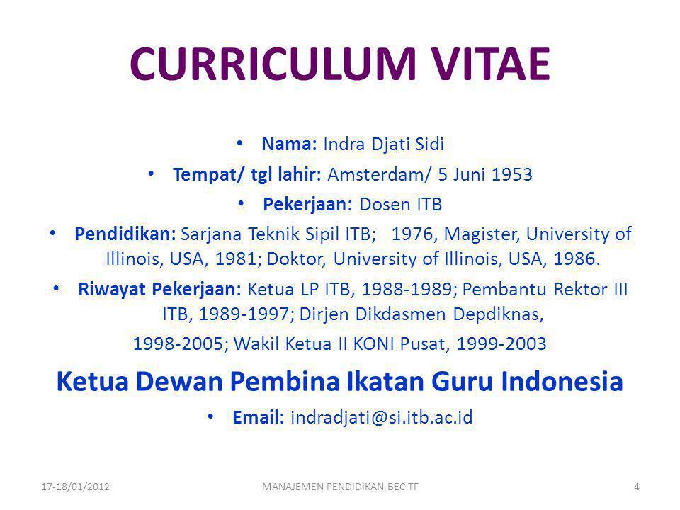 CURRICULUM VITAE Nama: Indra Djati Sidi Tempat/ tgl lahir: Amsterdam/ 5 Juni 1953 Pekerjaan: Dosen ITB Pendidikan: Sarjana Teknik Sipil ITB; 1976, Mag