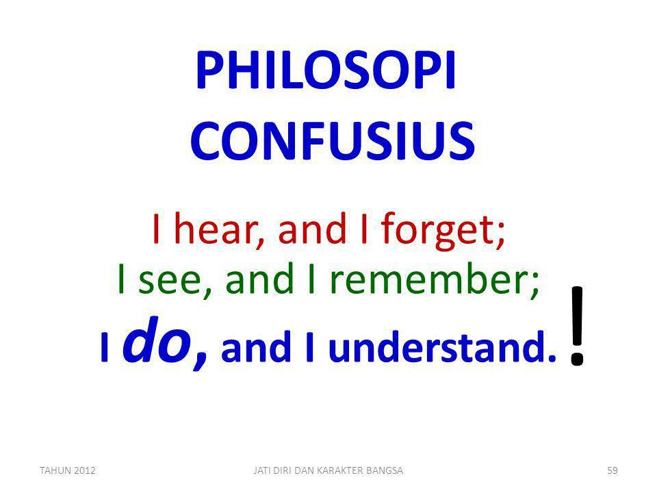 PHILOSOPI CONFUSIUS I hear, and I forget; I see, and I remember; I do, and I understand. ! TAHUN 201259JATI DIRI DAN KARAKTER BANGSA