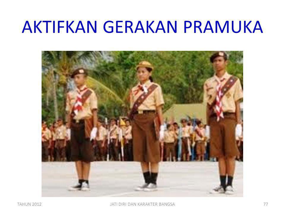 AKTIFKAN GERAKAN PRAMUKA TAHUN 2012JATI DIRI DAN KARAKTER BANGSA77