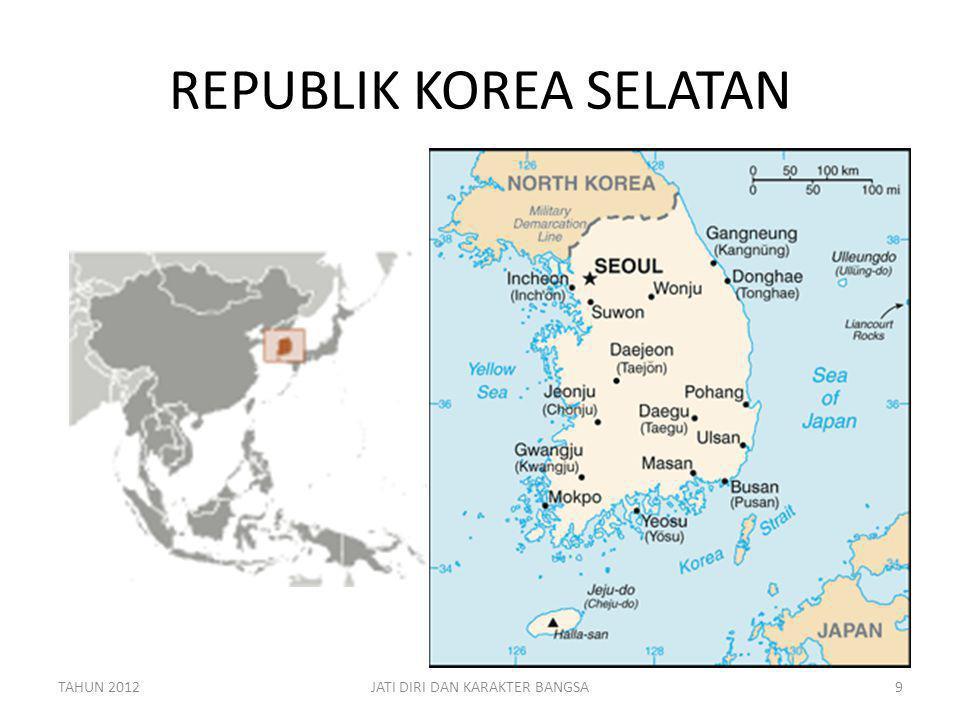 PERBANDINGAN KOREA SELATAN – INDONESIA DALAM ANGKA DATAINDONESIAKOREA SELATAN PENDUDUK240 JUTA (4.8 X)50 JUTA LUAS1.904.569 KM2 (19 X)99720 KM2 APK PT18.7% (1/5 X)95% GDP1,21 TRILLION US $ (0.78 X)1,549 TRILLION US $ LITERACY90.4 % (0.92 X)97.9 % GDP/KAPITA4700 US $ (0.15 X)31.700 US $ BUDGET134,2 BILLION US $ (0.5 X)267,9 BILLION US $ TAHUN 2012JATI DIRI DAN KARAKTER BANGSA10