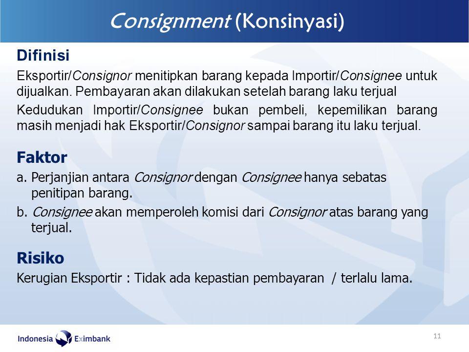 Faktor a. Perjanjian antara Consignor dengan Consignee hanya sebatas penitipan barang. b. Consignee akan memperoleh komisi dari Consignor atas barang