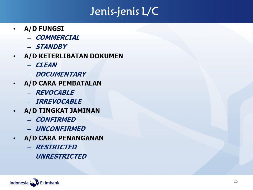 A/D FUNGSI – COMMERCIAL – STANDBY A/D KETERLIBATAN DOKUMEN – CLEAN – DOCUMENTARY A/D CARA PEMBATALAN – REVOCABLE – IRREVOCABLE A/D TINGKAT JAMINAN – C