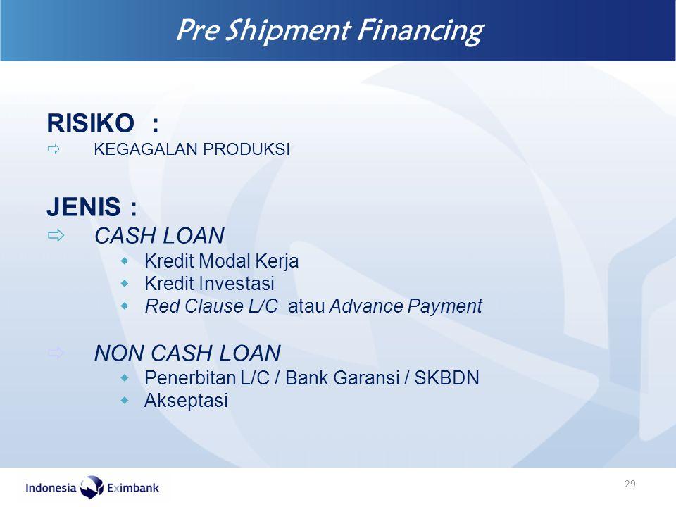 Pre Shipment Financing 29 RISIKO :  KEGAGALAN PRODUKSI JENIS :  CASH LOAN  Kredit Modal Kerja  Kredit Investasi  Red Clause L/C atau Advance Paym