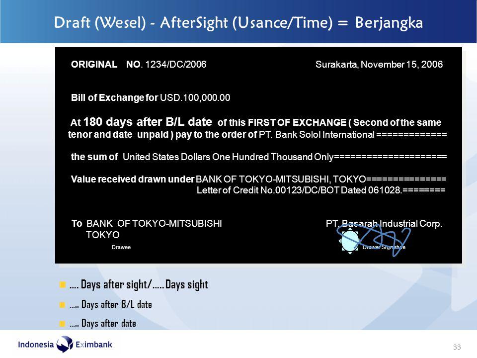 33 Draft (Wesel) - AfterSight (Usance/Time) = Berjangka ORIGINAL NO. 1234/DC/2006 Surakarta, November 15, 2006 Bill of Exchange for USD.100,000.00 At