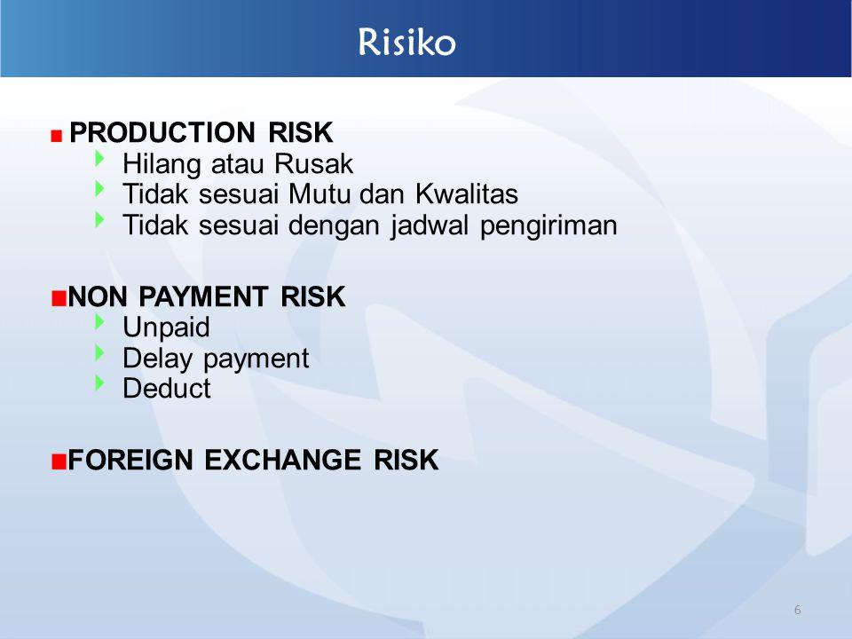 6 Risiko PRODUCTION RISK  Hilang atau Rusak  Tidak sesuai Mutu dan Kwalitas  Tidak sesuai dengan jadwal pengiriman NON PAYMENT RISK  Unpaid  Dela