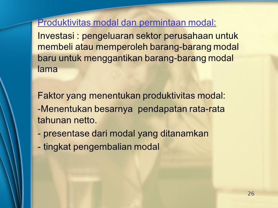 Produktivitas modal dan permintaan modal: Investasi : pengeluaran sektor perusahaan untuk membeli atau memperoleh barang-barang modal baru untuk mengg