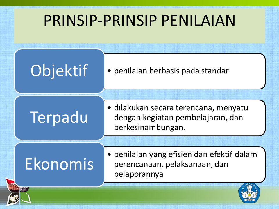 PRINSIP-PRINSIP PENILAIAN penilaian berbasis pada standar Objektif dilakukan secara terencana, menyatu dengan kegiatan pembelajaran, dan berkesinambun