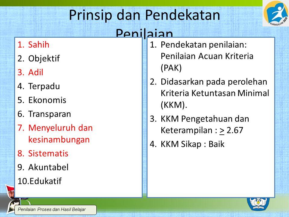Prinsip dan Pendekatan Penilaian Prinsip 1.Sahih 2.Objektif 3.Adil 4.Terpadu 5.Ekonomis 6.Transparan 7.Menyeluruh dan kesinambungan 8.Sistematis 9.Akuntabel 10.Edukatif Pendekatan 1.Pendekatan penilaian: Penilaian Acuan Kriteria (PAK) 2.Didasarkan pada perolehan Kriteria Ketuntasan Minimal (KKM).