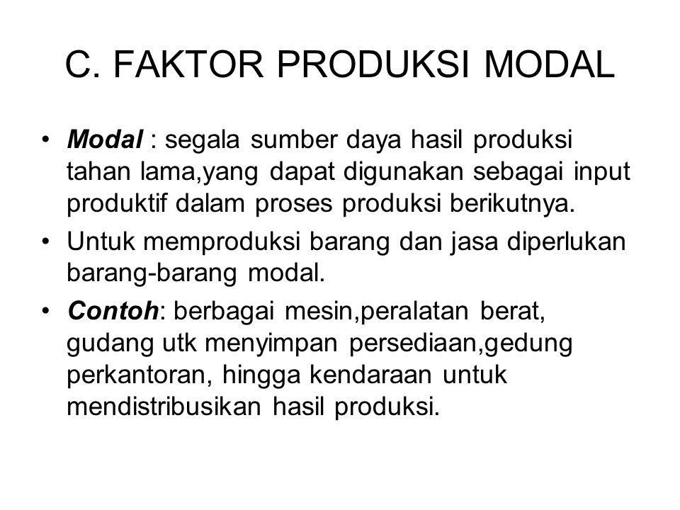 C. FAKTOR PRODUKSI MODAL Modal : segala sumber daya hasil produksi tahan lama,yang dapat digunakan sebagai input produktif dalam proses produksi berik