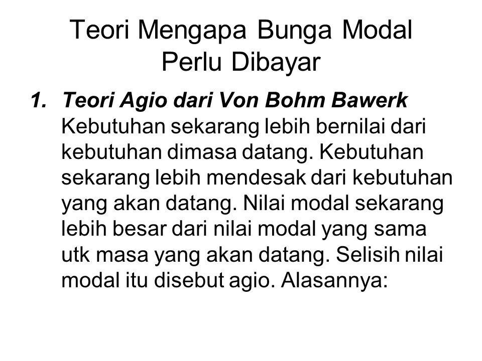 Teori Mengapa Bunga Modal Perlu Dibayar 1.Teori Agio dari Von Bohm Bawerk Kebutuhan sekarang lebih bernilai dari kebutuhan dimasa datang.
