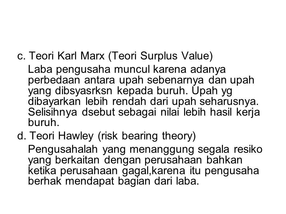 c. Teori Karl Marx (Teori Surplus Value) Laba pengusaha muncul karena adanya perbedaan antara upah sebenarnya dan upah yang dibsyasrksn kepada buruh.