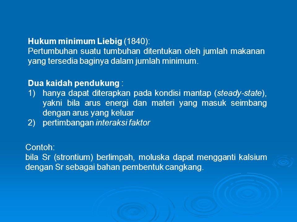 Hukum minimum Liebig (1840): Pertumbuhan suatu tumbuhan ditentukan oleh jumlah makanan yang tersedia baginya dalam jumlah minimum.