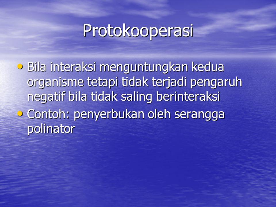 Protokooperasi Bila interaksi menguntungkan kedua organisme tetapi tidak terjadi pengaruh negatif bila tidak saling berinteraksi Bila interaksi menguntungkan kedua organisme tetapi tidak terjadi pengaruh negatif bila tidak saling berinteraksi Contoh: penyerbukan oleh serangga polinator Contoh: penyerbukan oleh serangga polinator